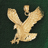 Flying Eagle Charm Bracelet or Pendant Necklace in Yellow, White or Rose Gold DZ-2774 by Dazzlers