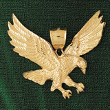 Flying Eagle Charm Bracelet or Pendant Necklace in Yellow, White or Rose Gold DZ-2777 by Dazzlers
