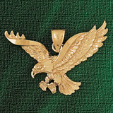 Flying Eagle Charm Bracelet or Pendant Necklace in Yellow, White or Rose Gold DZ-2779 by Dazzlers