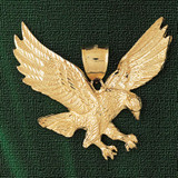 Flying Eagle Charm Bracelet or Pendant Necklace in Yellow, White or Rose Gold DZ-2780 by Dazzlers