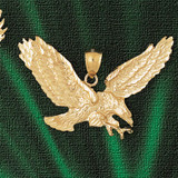 Flying Eagle Charm Bracelet or Pendant Necklace in Yellow, White or Rose Gold DZ-2781 by Dazzlers
