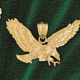 Flying Eagle Charm Bracelet or Pendant Necklace in Yellow, White or Rose Gold DZ-2782 by Dazzlers