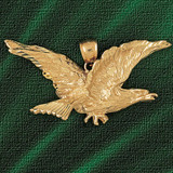 Flying Eagle Charm Bracelet or Pendant Necklace in Yellow, White or Rose Gold DZ-2783 by Dazzlers