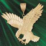 Flying Eagle Charm Bracelet or Pendant Necklace in Yellow, White or Rose Gold DZ-2784 by Dazzlers