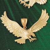Flying Eagle Charm Bracelet or Pendant Necklace in Yellow, White or Rose Gold DZ-2787 by Dazzlers