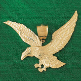 Flying Eagle Charm Bracelet or Pendant Necklace in Yellow, White or Rose Gold DZ-2788 by Dazzlers