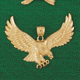 Flying Eagle Charm Bracelet or Pendant Necklace in Yellow, White or Rose Gold DZ-2789 by Dazzlers