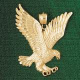 Flying Eagle Charm Bracelet or Pendant Necklace in Yellow, White or Rose Gold DZ-2790 by Dazzlers