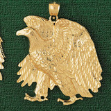 Sitting Eagle Charm Bracelet or Pendant Necklace in Yellow, White or Rose Gold DZ-2794 by Dazzlers