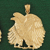 Sitting Eagle Charm Bracelet or Pendant Necklace in Yellow, White or Rose Gold DZ-2795 by Dazzlers
