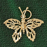 Butterfly Pendant Necklace Charm Bracelet in Gold or Silver 3096
