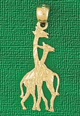 Giraffe Charm Bracelet or Pendant Necklace in Yellow, White or Rose Gold DZ-2657 by Dazzlers