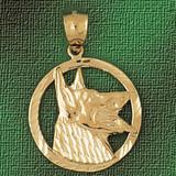 German Shepherd Dog Pendant Necklace Charm Bracelet in Gold or Silver 2136