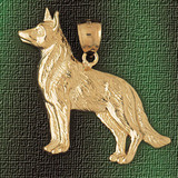 German Shepherd Dog Pendant Necklace Charm Bracelet in Gold or Silver 2142