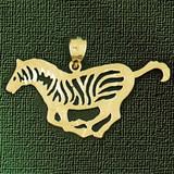 Zebra Pendant Necklace Charm Bracelet in Gold or Silver 2586