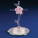 Cross with Pink Rose Glass Figurine GL881