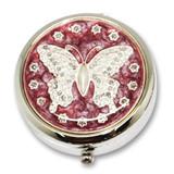 Silver-tone Enamel Butterfly Pillbox GM12410