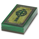 Green Wooden Celtic Cross Box GM5400