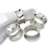 Set of 4 Silver-plated Beaded Napkin Rings GM6915