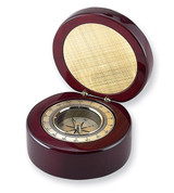 Round Wood Box with a Compass GM775