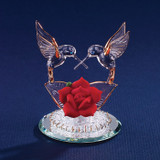 Hummingbirds & Red Rose Glass Figurine GP1129