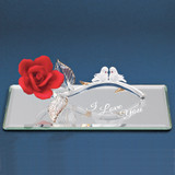 I Love You Red Rose with Doves Glass Figurine GP6044