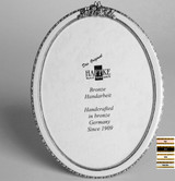 Haffke Silver Enamel Oval Picture Frame with Rose 2.5 x 3.5 Inch