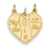 3 piece Break-apart Big Sis, Sis & Lil Sis Charm 14k Gold M310