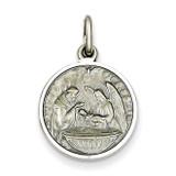 Antiqued Baptism Medal Sterling Silver QC3668