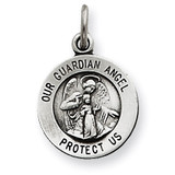 Antiqued Guardian Angel Medal Sterling Silver QC5817