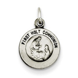 Antiqued First Holy Communion Medal Sterling Silver QC5822