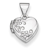 Heart-Shaped Floral Locket 14k White Gold Polished XL303