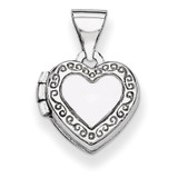 Heart-Shaped Scrolled Locket 14k White Gold Polished XL60