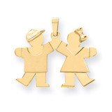 Solid Boy Facing Right & Girl Facing Left Engravable Charm 14k Gold XK283