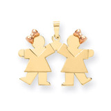 Double Girls Engravable Charm 14k Two-tone Gold Small XK284
