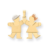 Small Boy on Left & Girl on Right Engravable Charm 14k Tri-Color Gold XK590
