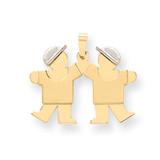 Double Boys Engravable Charm 14k Two-tone Gold Small XK591