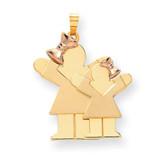 Big Girl & Little Girl Engravable Charm 14k Two-tone Gold XK636