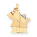 Big Girl & Little Boy Engravable Charm 14k Tri-Color Gold XK637