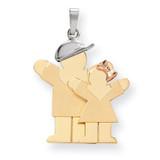 Big Boy & Little Girl Engravable Charm 14k Tri-Color Gold XK638