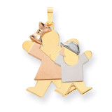 Big Girl & Little Boy Engravable Charm 14k Tri-Color Gold XK641