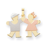 Small Boy on Left & Girl on Right Engravable Charm 14k Tri-Color Gold XK731X