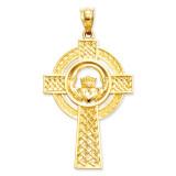 Celtic Claddagh Cross Pendant 14k Gold C2703