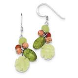 Jade Unikite Peridot Aventurine Carnelian Earrings Sterling Silver QE2394