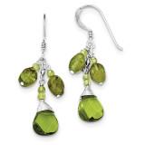 Green Crystal Peridot Earrings Sterling Silver QE2486