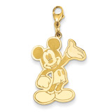 Disney Waving Mickey Lobster Clasp Charm Gold-plated Sterling Silver WD116GP
