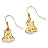 Disney Winnie the Pooh Dangle Wire Earrings Gold-plated Sterling Silver WD159GP