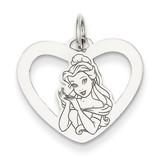 Disney Belle Heart Charm Sterling Silver WD246SS