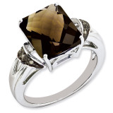 Smoky Quartz & Diamond Ring Sterling Silver QR2871SQ