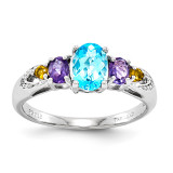 Light Swiss Blue Topaz, Amethyst, Citrine & Diamond Ring Sterling Silver QR2903LSBT